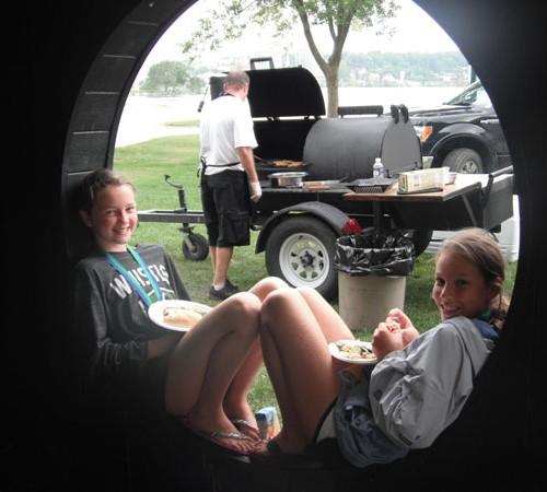 enjoying BBQ