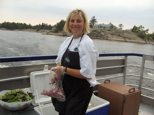 Shaws Catering on a boat